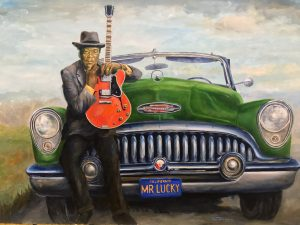 The great John Lee Hooker with his car Mr. Lucky.